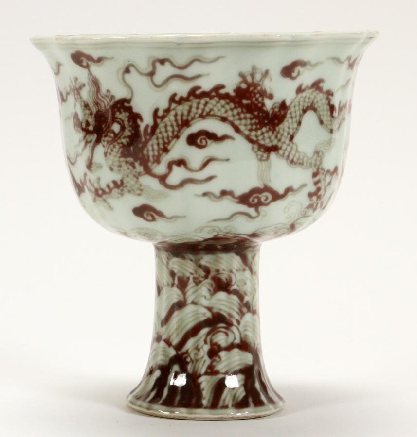 """CHINESE PORCELAIN CHALICE, H 7"""", DIA 6"""""""