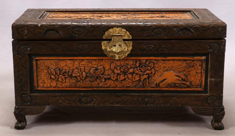 CHINESE HAND CARVED CAMPHOR TRUNK