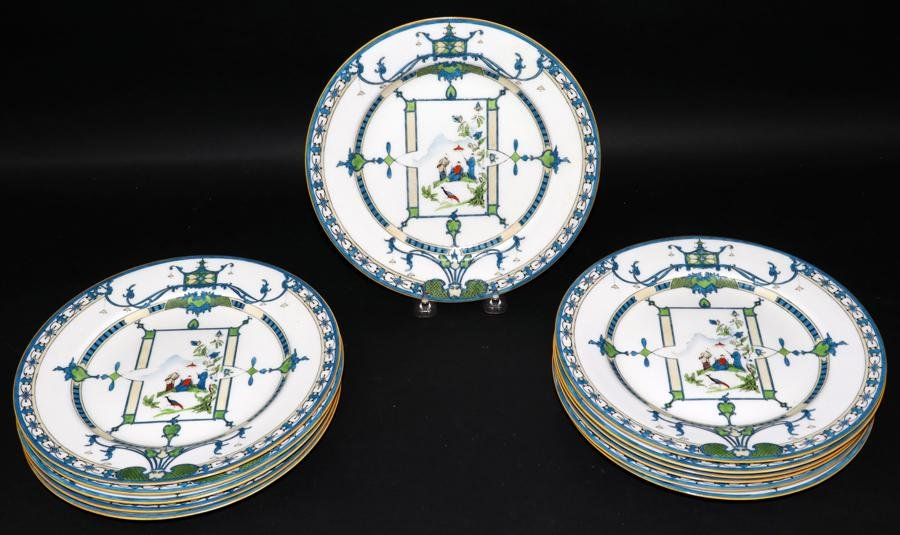 """ROYAL WORCESTER, CHINOISERIE PLATES, 12, D 9"""""""