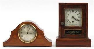 MAHOGANY INLAY CLOCK & SETH THOMAS CLOCK, 2 PCS
