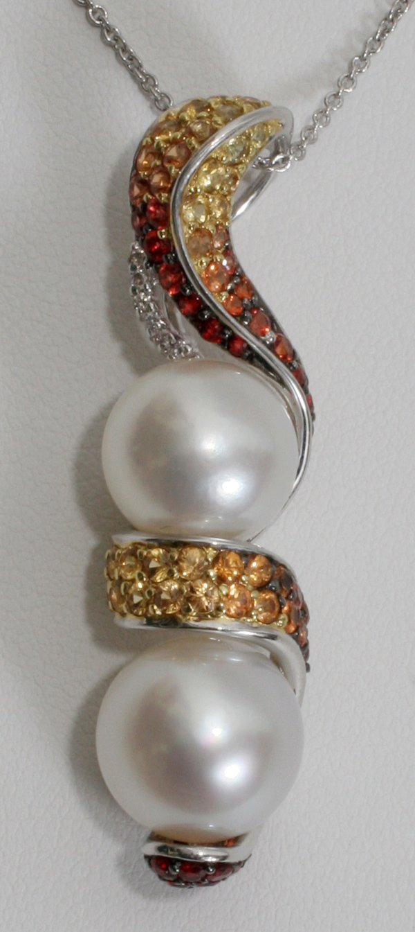 050005: GOLD, DIAMOND, SAPPHIRE & PEARL NECKLACE