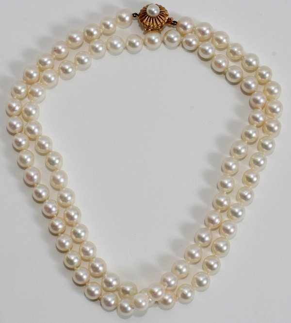 050007: 14K YELLOW GOLD & CULTURED PEARL NECKLACE