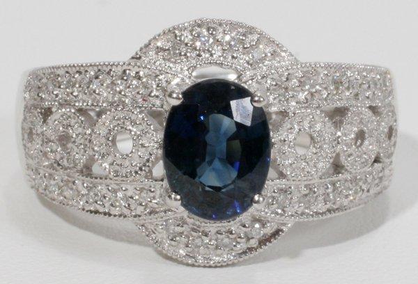 050012: 14 KT WHITE GOLD, DIAMOND & SAPPHIRE RING