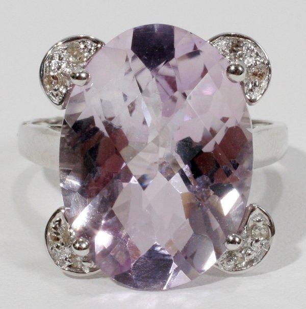 050013: WHITE GOLD, AMETHYST & DIAMOND COCKTAIL RING