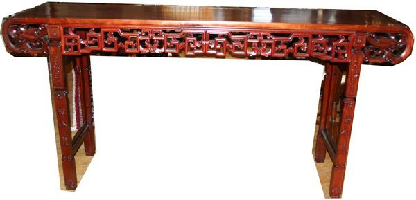 """050024: CHINESE ROSEWOOD ALTAR TABLE H 38"""", L 78"""""""