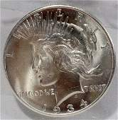 050364: US PEACE STERLING SILVER DOLLAR COIN MS-60