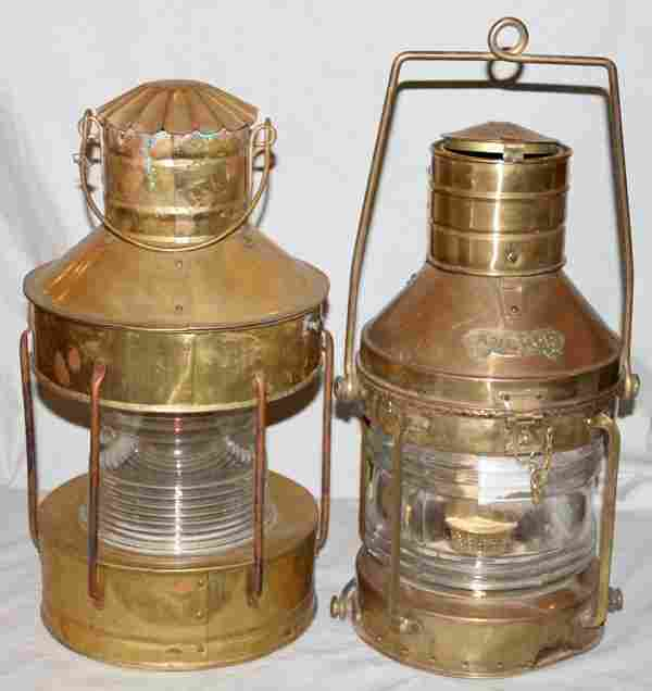 """BRASS SHIPS ANCHOR LIGHTS, TWO, H 19"""""""