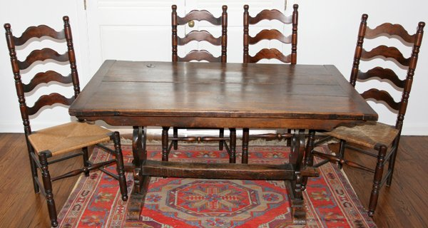 051025: CARVED OAK TRESTLE TABLE & SIX MAPLE CHAIRS