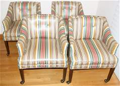 051429: VINYL-UPHOLSTERED CLUB CHAIRS, SET OF FOUR