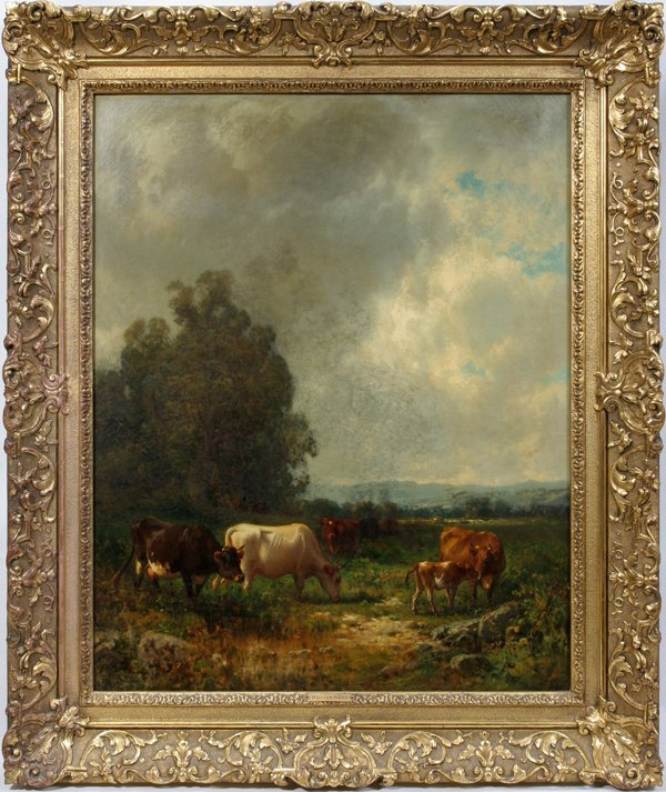 052008: WILLIAM HART OIL ON CANVAS LANDSCAPE W/CATTLE