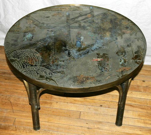 120004: PHILLIP LAVERNE PEWTER AND BRONZE COCKTAIL TABL