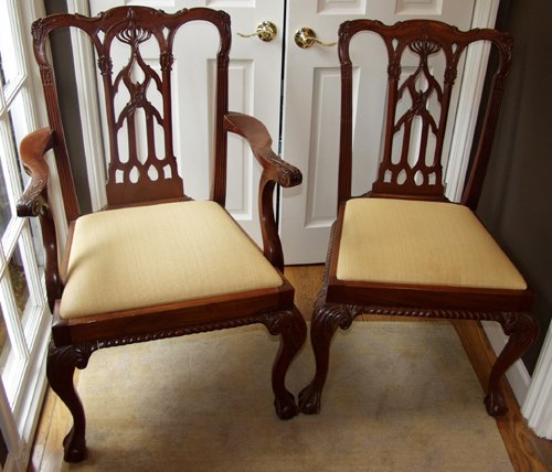 120005: IRISH CHIPPENDALE STYLE HAND-CARVED MAHOGANY DI
