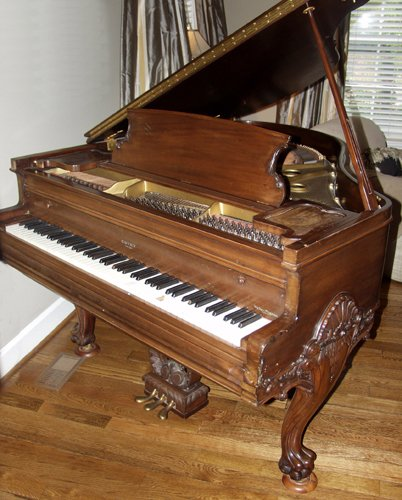 120006: ESTEY, CHIPPENDALE STYLE MAHOGANY PLAYER PIANO,