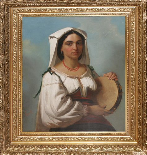 120007: ELISEO SALA (ITAL.1813-1879), OIL ON CANVAS, 'P