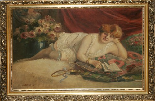 120009: R. GIEGER (AMER.1859-1903), OIL ON CANVAS, 'REC
