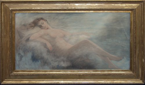 120022: CAROLE, AMERICAN PASTEL, 'RECLINING NUDE', C. 1