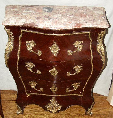 120024: FRENCH STYLE BOMBE COMMODES WITH MARBLE TOPS, P