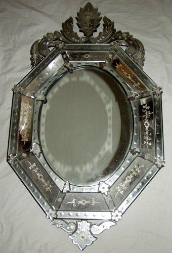 "120025: VENETIAN GLASS OCTAGONAL MIRROR, C.1930, 50"" X"