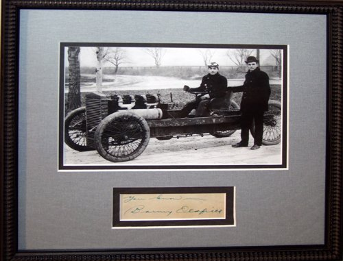 120219: BARNEY OLDFIELD AUTOGRAPH, C.1905, FRAMED WITH