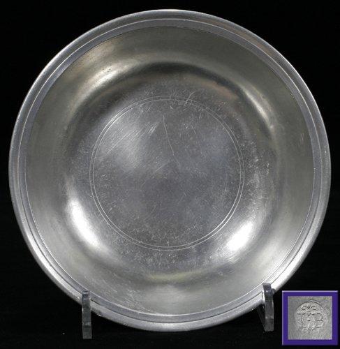 121008: AMERICAN PEWTER BOWL, JOHN BASSETT, CIRCA 1750,