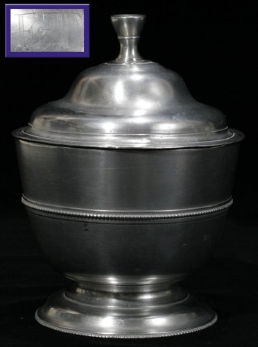 121012: AMERICAN PEWTER COVERED SUGAR BOWL, WILLIAM WIL