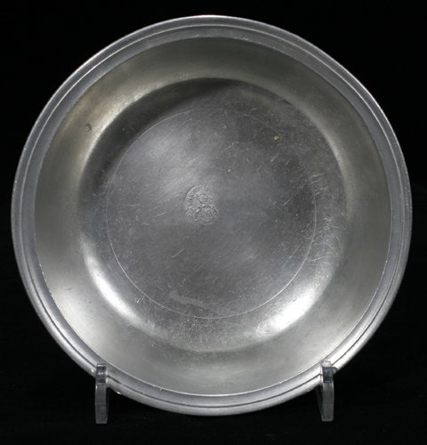 """121014: AMERICAN PEWTER BASIN, HENRY WILL, H 1 1/2"""", DI"""