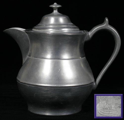 "121015: AMERICAN PEWTER COFFEE POT, BOARDMAN, H 8"", L 9"