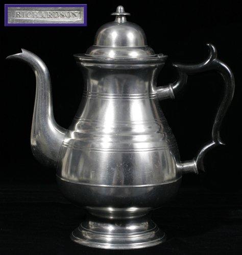 121016: AMERICAN PEWTER COFFEE POT, G. RICHARDSON, CRAN