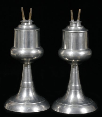 """121020: PEWTER WHALE OIL LAMPS, PAIR, H 9 1/2"""""""