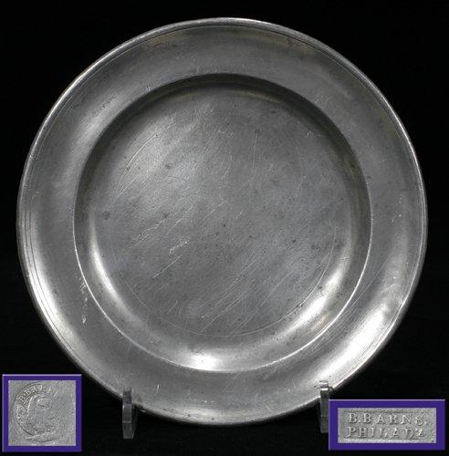 121022: AMERICAN PEWTER PLATE, B.BARNES, PHILADELPHIA,