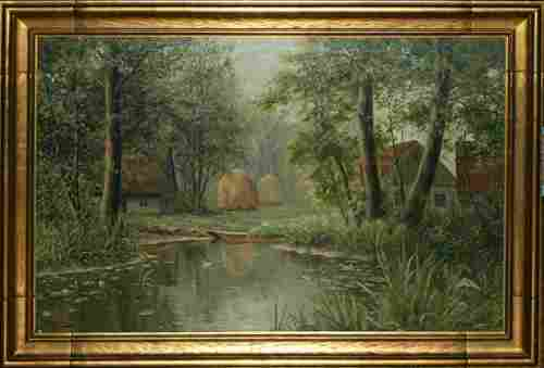 """B. MOADS, FRENCH OIL ON BOARD, C. 1910, 30"""" X 4"""