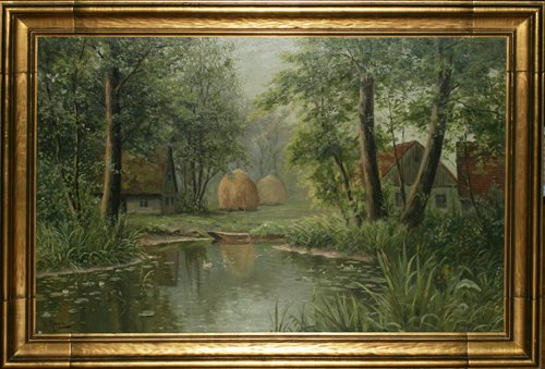 """122008: B. MOADS, FRENCH OIL ON BOARD, C. 1910, 30"""" X 4"""