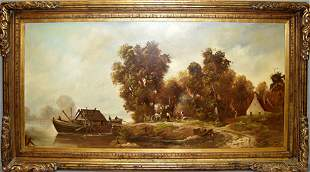 H.P. ULHMAN, OIL ON CANVAS, VILLAGE BY RIVER CR