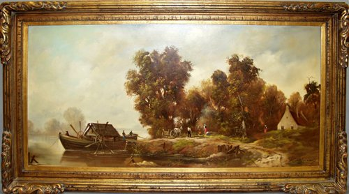 122023: H.P. ULHMAN, OIL ON CANVAS, VILLAGE BY RIVER CR