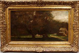 AFTER GEORGE INNESS, OIL ON CANVAS, LANDSCAPE,