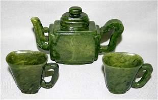 CHINESE CARVED SPINACH JADE TEA SET, THREE PIEC