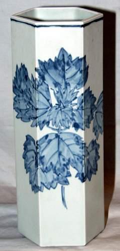 JAPANESE BLUE AND WHITE PORCELAIN HEXAGONAL VAS