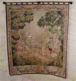 FLEMISH TAPESTRY, GARDEN SCENE WITH FLORAL BORD