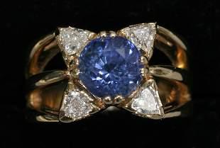 .80 CT. DIAMOND & 3.30 CT. SAPPHIRE LADY'S RING