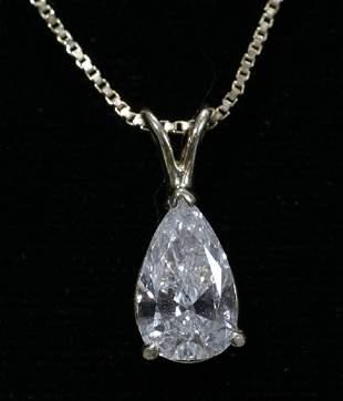 1.12CT. DIAMOND PEAR SHAPE PENDANT ON GOLD CHAI