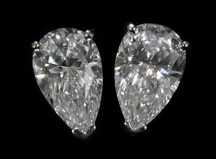 DIAMOND STUD PEAR SHAPE EARRINGS, PAIR, 1.37 CT