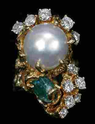 13.5MM PEARL, DIAMOND AND 1.50 CT. EMERALD LADY