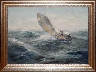 "OIL ON CANVAS, C. 1900, 16"" X 22"", MEN IN A SAI"