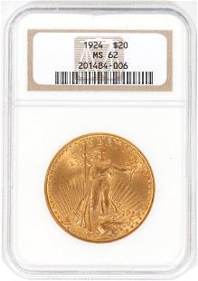 US 20DOLLAR CERTIFIED GOLD COIN 1924