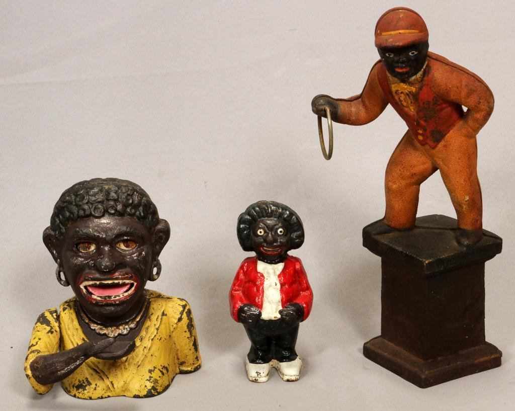 BLACK MEMORABILIA CAST IRON BANKS & JOCKEY FIGURE