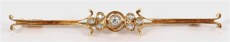 14KT YELLOW GOLD & DIAMOND BAR PIN, C.1900