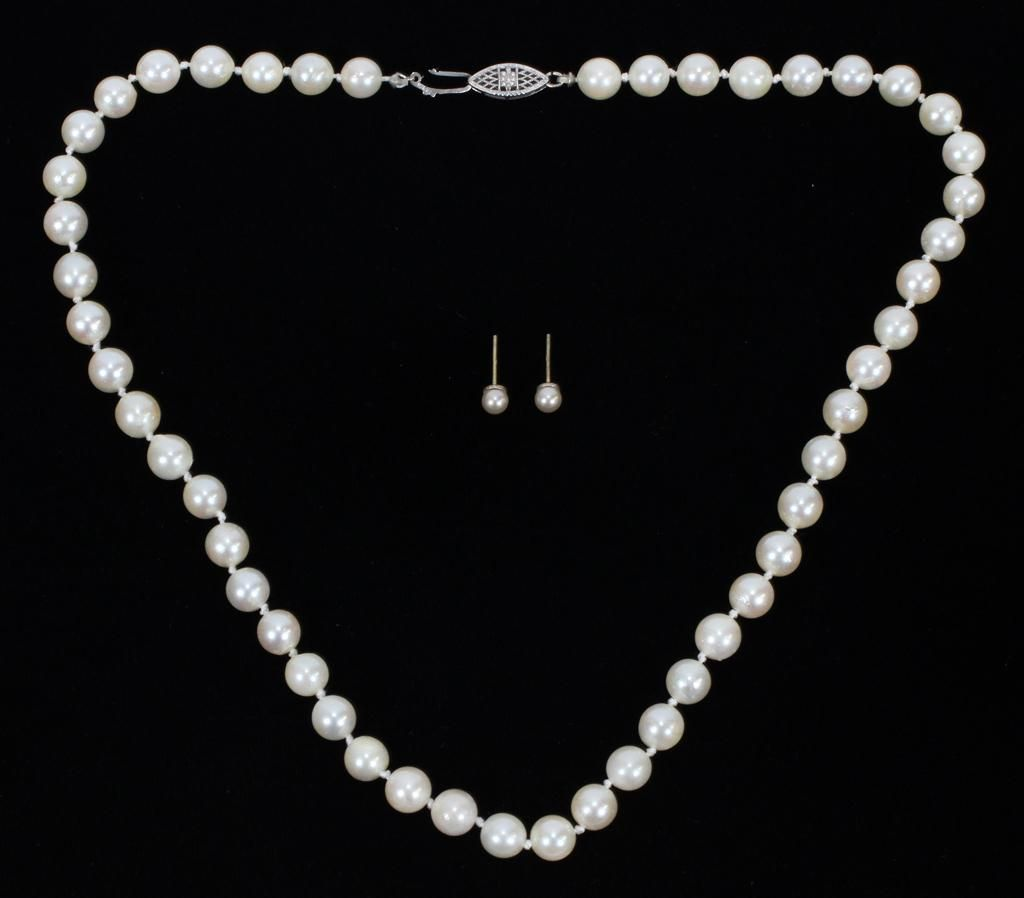 """7 MM PEARL, 14KT GOLD NECKLACE, L 17"""", T.W. 27 GR"""