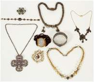 VINTAGE COSTUME NECKLACES BRACELETS  BROOCH