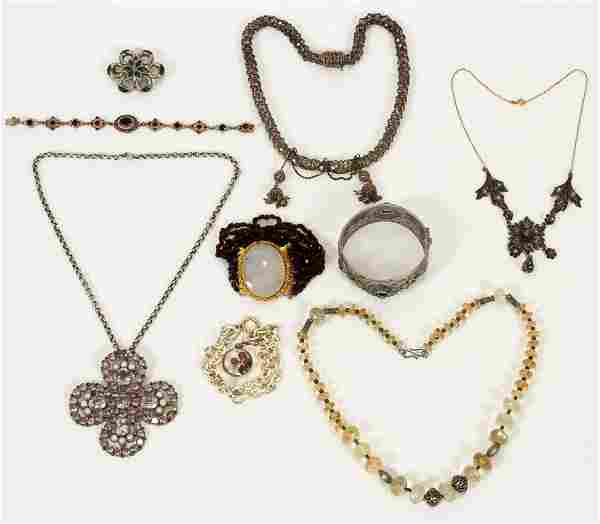 VINTAGE COSTUME NECKLACES, BRACELETS & BROOCH
