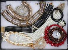 COSTUME JEWELRY 10 NECKLACES  RING 11 PCS